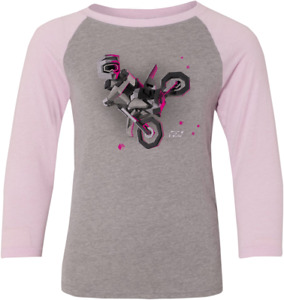 Factory Effex Youth Girls Baseball Shirt  X-Large Gray Pink