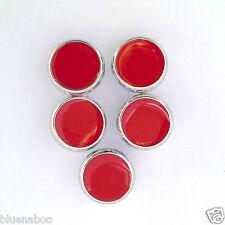 5 x Bottoni Camicia Abito rosso con finiture in argento gambo sul retro 10mm