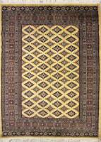 Rugstc 4x6 Bokhara Jaldar Gold Area Rug, Hand-Knotted,Geometric with Silk/Wool