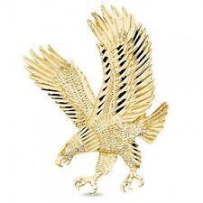 Solid 14k Yellow Gold Large Eagle Pendant Diamond Cut Charm Hip Hop Style Mens