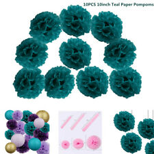"10 PCS Tissue Pompoms Baby Shower Party Wedding Hanging Decor 10"" Teal Pom Poms"