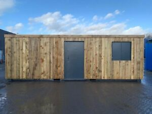 21ft x 9ft Cladded Shipping Container Office with vertical cladding - Manchester