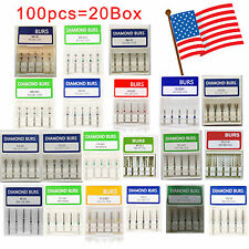 100 x Dental Dentist Diamond  Bur Bits Drill FG 1.6mm 20 Types USA STOCK FIXED