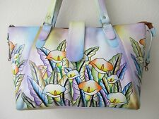 MULTI-COLOR HAND PAINTED FLORAL LEATHER SHOULDER BAG W COIN PURSE - NEW