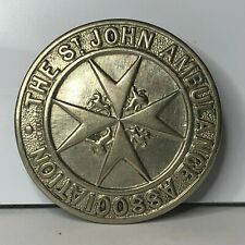 More details for ww2 home front large st johns ambulance cap badge white metal 48 mm