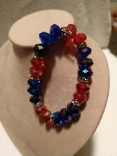 Glass Crystal Facet Cut Beaded Bracelet w/Crystal Rhinestones Red & Dark Blue