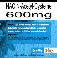 NAC N-Acetyl-Cysteine 600mg Liver & Lung Function Support L Cysteine