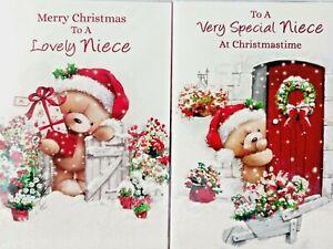 NIECE CHRISTMAS CARD  ~ CHOICE OF 2 CUTE DESIGNS ~ QUALITY CARD & NICE VERSE