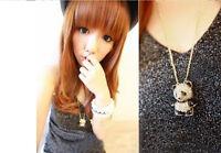 Women Rhinestone Crystal Cute Panda Sweater Chain Animal Pendant Necklace