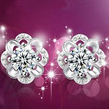 Women Fashion Silver Plated Crystal Rhinestone Diamond Ear Stud Earrings AA