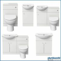 Modern Bathroom Basin Sink Vanity Toilet WC Concealed Cistern Unit Matte White