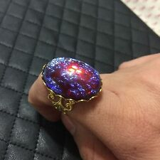 Faux Gold Filigree Dragons Breath Mexican Glass Fire Opal Adjustable Large Ring