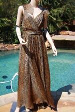 Dolce & Gabbana D&G ocelot flutter sleeve chiffon maxi long dress leopard 44 6 8
