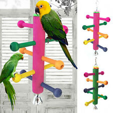 Parrot Bird Perch Stand Play Fun Toys Gym Wooden Rotate Ladder Cage Climbing