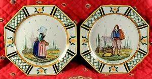 Unusual Pair French Country Faience HB QUIMPER Plates Stunning Detail Circa 1910