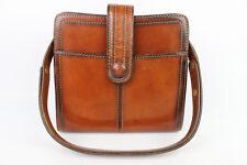 VINTAGE Bag Brown Leather M.I. Worn Hand and Shoulder Made in France