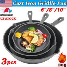 3 Piece Cast Iron Set Griddle Skillet Pre Seasoned 6/8/10