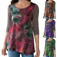 Women Long Sleeve Crew Neck Printed T-shirt Lounge Loose Tunic Blouse Shirt Tops