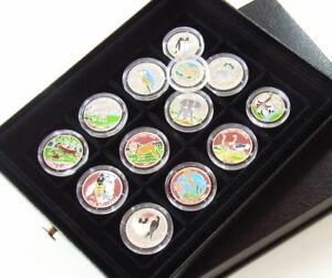 F86- 13 Gedenkmünzen Farbmünzen Silbermünzen Tiermotive in Sammelkassette