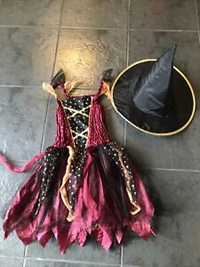 Girls Halloween Witch Fancy Dress Up Costume Age 7-8 Years