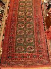 Green Bokhara Runner, Settled Colors, Fine Weave, 111 X 34 Inches