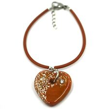 Bracelet Rubber And Steel ANTICA MURRINA VENEZIA, BR096M25, Heart Glass Brown