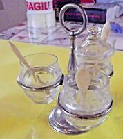 Ancien service à condiment art de la table Vintage moutarde sel poivre vinaigre