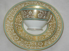 Minton Hanover Leaves & Flowers Gold with Turquoise Trim: Tea Cup & Saucer Trio
