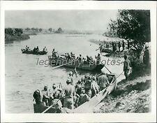 1914 World War I Austrian Infantry Cross River Original News Service Photo