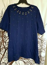 Navy blue beaded top womens plus size 2x