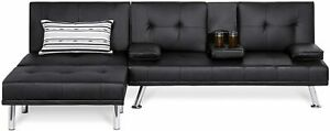 3 Modern Leather Futon Sofa Bed Fold Up & Down Recliner Couch with Cup Holder