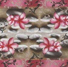 2 Serviettes en papier Détente Fleur Galet - Paper Napkins Relaxing Massage