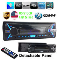 1 Din Car Radio RDS+AM FM In-Dash Bluetooth Stereo Detachable Panel MP3 Player