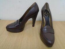 Prada Damas Marrón Cuero Tacón Alto Zapatos Talla Uk 3/EU 36 (C16)