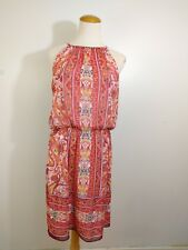 Jessica Women's Casual Dress Halter Sleeveless Floral Paisley Orange Peach S 10