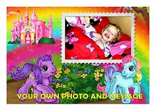 LITTLE PONY WITH OWN PICTURE TOPPER A4 EDIBLE ICED/ ICING FROSTING PERSONALISED