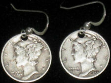 ANTIQUE LIBERTY MERCURY DIME STERLING SILVER VINTAGE DANGLE COIN EARRINGS