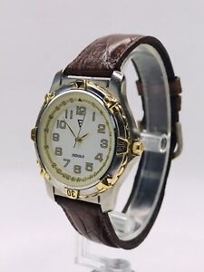 """Timex Indiglo Watch - Two Tone - """"F"""" Logo? - White Dial - New Battery!"""