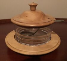 New listing Vintage Neiman Marcus Wood and Glass Condiment/Jam Container. Rare.