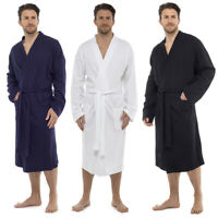 Mens White Lightweight Hotel Long Waffle Bath Robe Kimono Cotton Dressing Gown