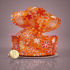 """1 1/2"""" Floral Floret Fabric Ribbon Orange / Red-selling by the yard"""