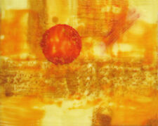 "Other Worlds Abstract Beeswax Encaustic 11""x14"" Red,orange,gold,yellow painting"