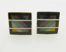 Estate SOLID 10k Yellow GOLD  EARRING Omega back  with Inlay GEMSTONES 6.3 grams