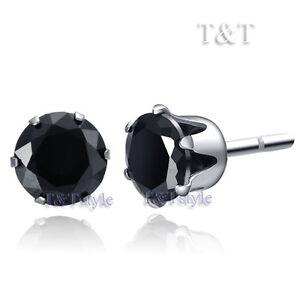 T&T S.Steel 8mm Clear Black CZ Round Stud Earrings ER08D(8)