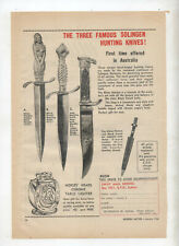 Solingen Hunting Knives Original Advertisement from a 1956 Magazine Knife