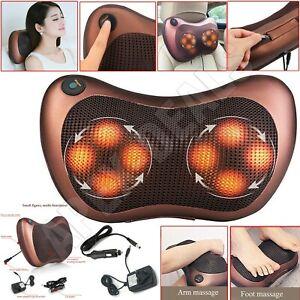 8 Drives Shiatsu Massager Body Massage Pillow Cushion Electric Neck Knead Back