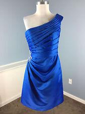 Mori Lee Blue Satin One Shoulder Dress Embellished Cocktail Formal Party 10 12
