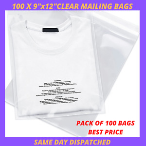 """100 X CLEAR MAILING BAGS 9"""" x 12""""Mail Bag Cello Display Garment CPP CHEAP STRONG"""
