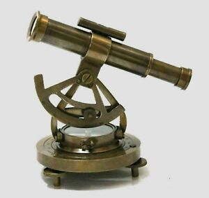 """Nautical Brass Alidade Telescope With Compass Collectible 5"""" Home Decor item"""