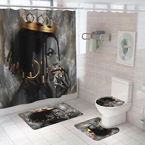 African Woman Shower Curtain Set Bathroom Rug Bath Mat Non-Slip Toilet Lid Cover